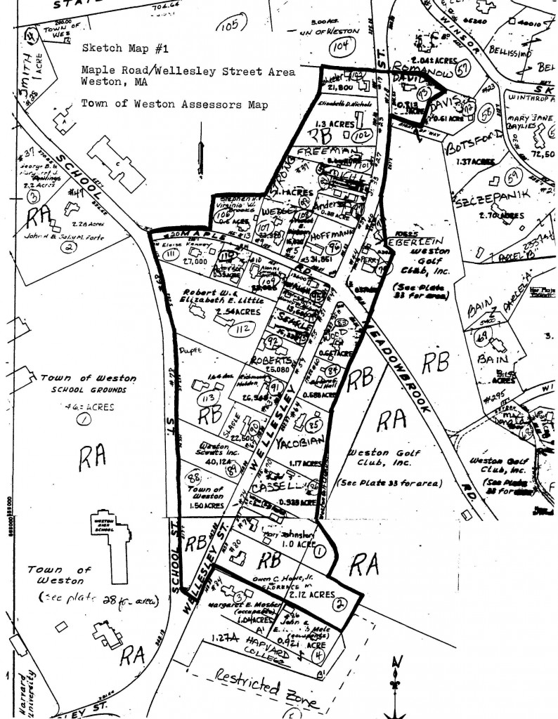 Sketch Map of Maple Road/Wellesley Street Area Assessors Map