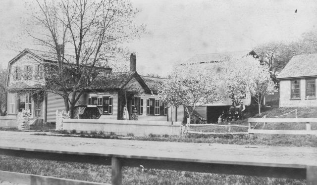 View of 263 North Ave in the mid-1890s showing Samuel Patch Jr.'s barn and shop