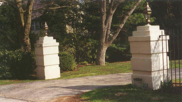 White Concrete Gate Posts