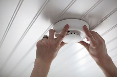 Smoke Detector mounted on ceiling