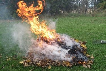 open burning of raked leaves