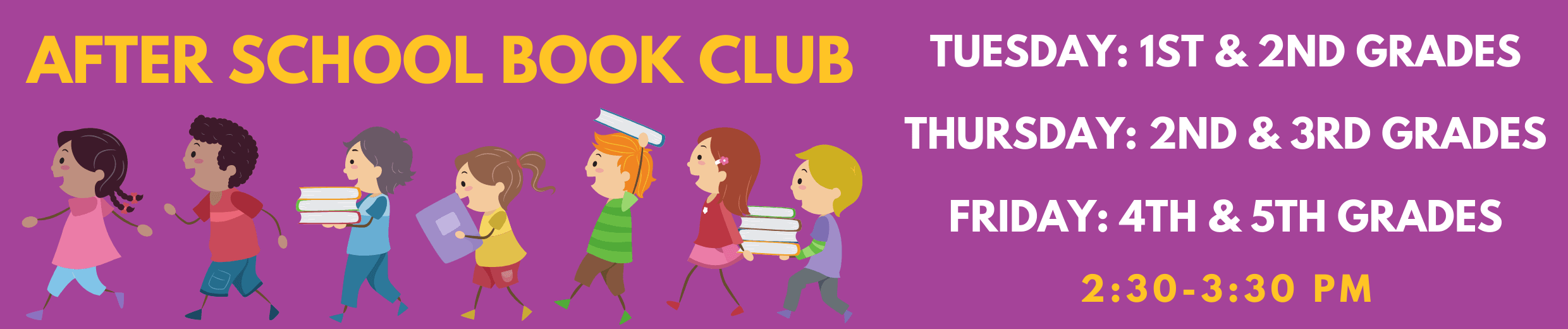 Web AfterSchool book club banner with kids walking